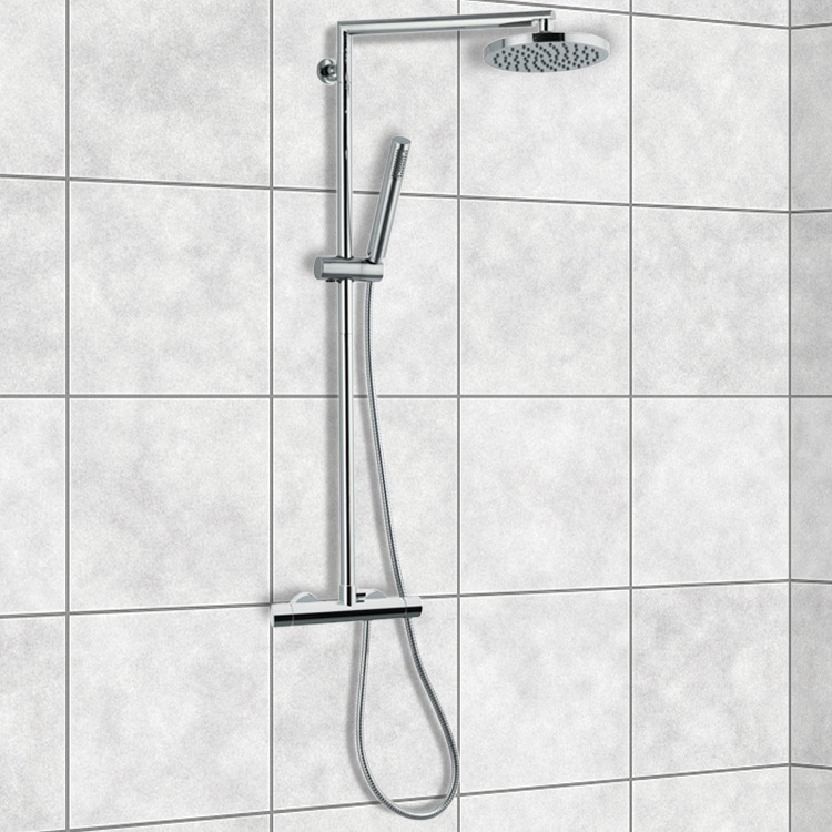 exposed pipe shower . Exposed Pipe Shower  Remer NT37BUS External Single Lever Thermostatic Set With Hand Minimal Thermal Nameek S