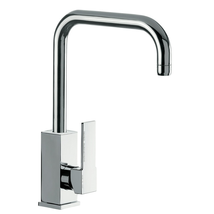 Kitchen Sink Faucet, Remer Q72US, Brass Mixer With Single Side Lever and High Movable U-Spout