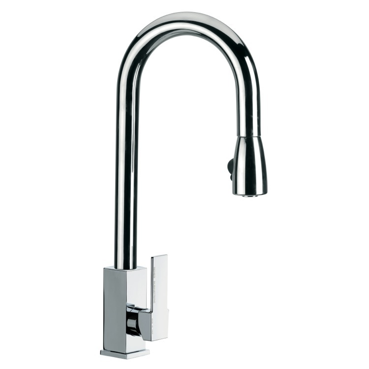 Kitchen Sink Faucet, Remer Q85US, Round Mixer With High Movable C-Spout and Pull Out Hand Spray