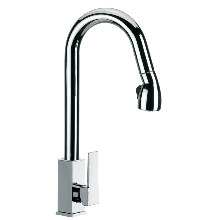 Kitchen Sink Faucet, Remer Q86US, High J-Spout Mixer With Side Lever and Pull Out, 2 Function Hand Spray