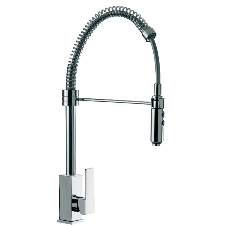 Kitchen Sink Faucet, Remer Q87US, Deck Mount Squared Sink Mixer With Spring Spout and Pull Out Hand Spray