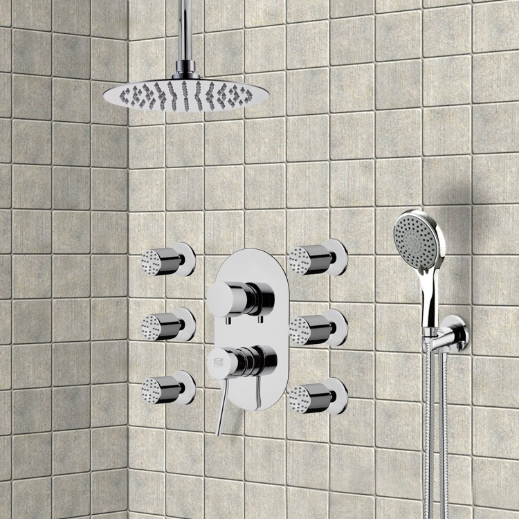 Shower Faucet, Remer R13, Chrome Shower System with Ceiling 10