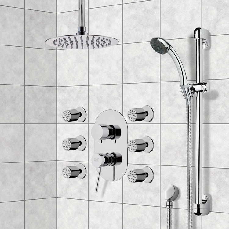 Shower Faucet, Remer R1, Chrome Shower System with Ceiling 10