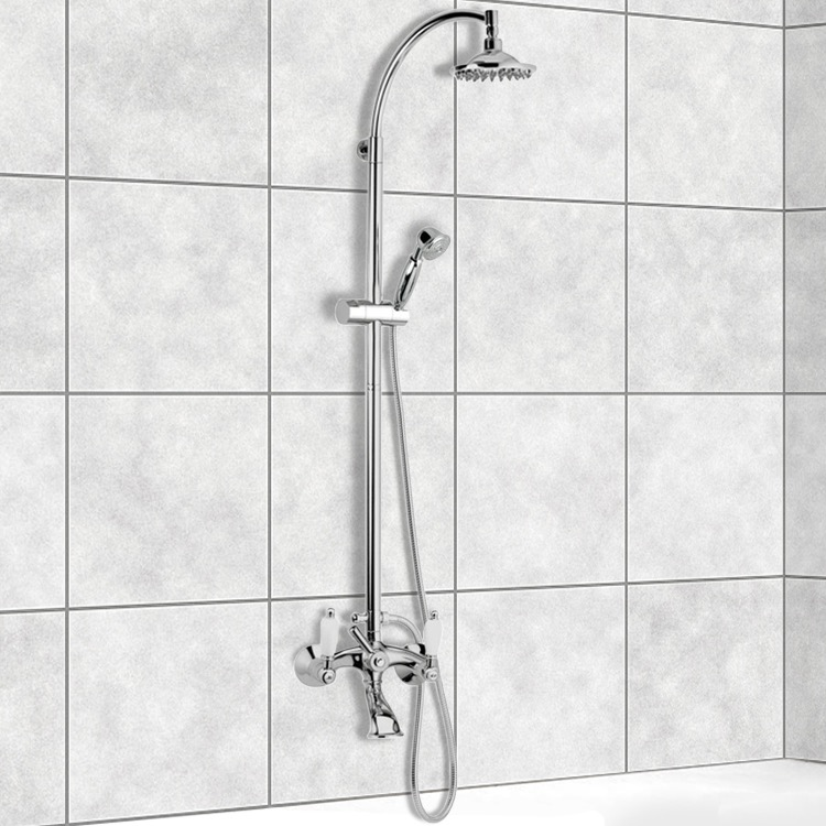 Exposed Pipe Shower, Remer LR09US, Wall-Mounted Bathtub Mixer With Sliding Rail and Diverter