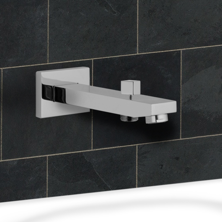 Tub Spout, Remer 91QD, Wall-Mounted Tub Spout With Diverter