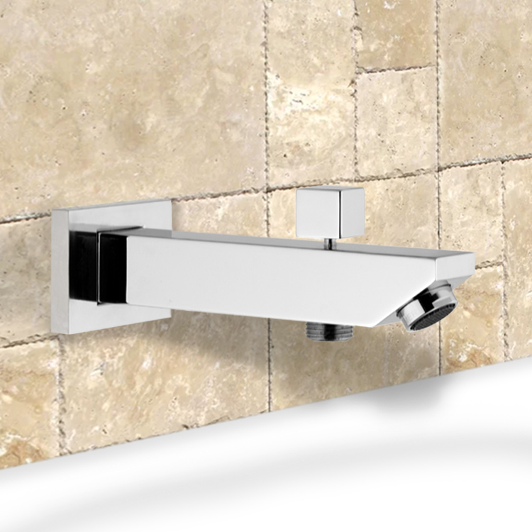 Tub Spout, Remer 91SD, Square Tub Spout with Diverter