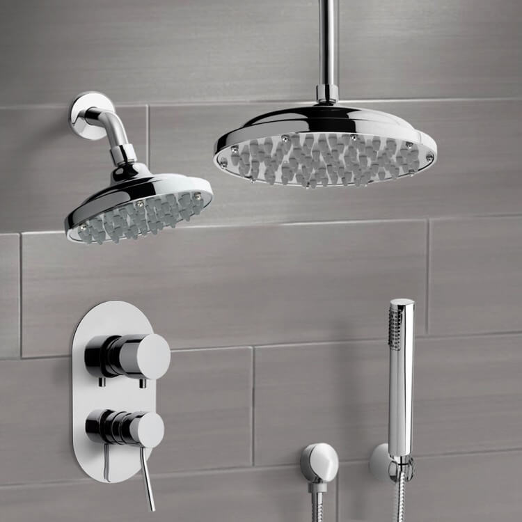 Shower Faucet, Remer DCS01, Chrome Dual Shower Head System With Hand Shower