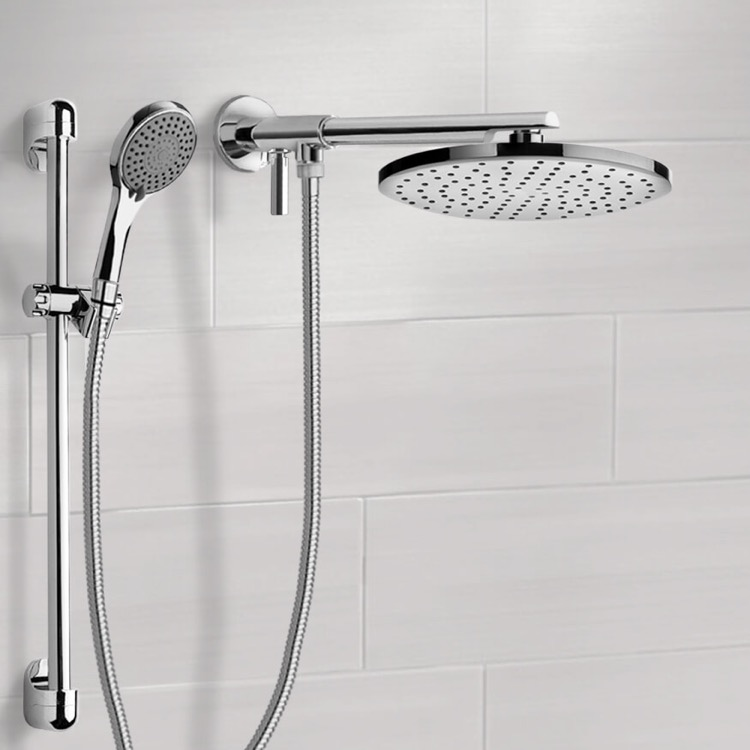 Shower Head, Remer DSH02, Dual Shower Head Set With 2-Way Diverter Shower Head Arm and Sliding Rail
