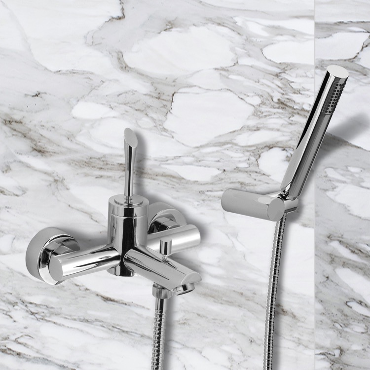 Tub Filler, Remer J02, Wall Mount Tub Faucet with Hand Shower