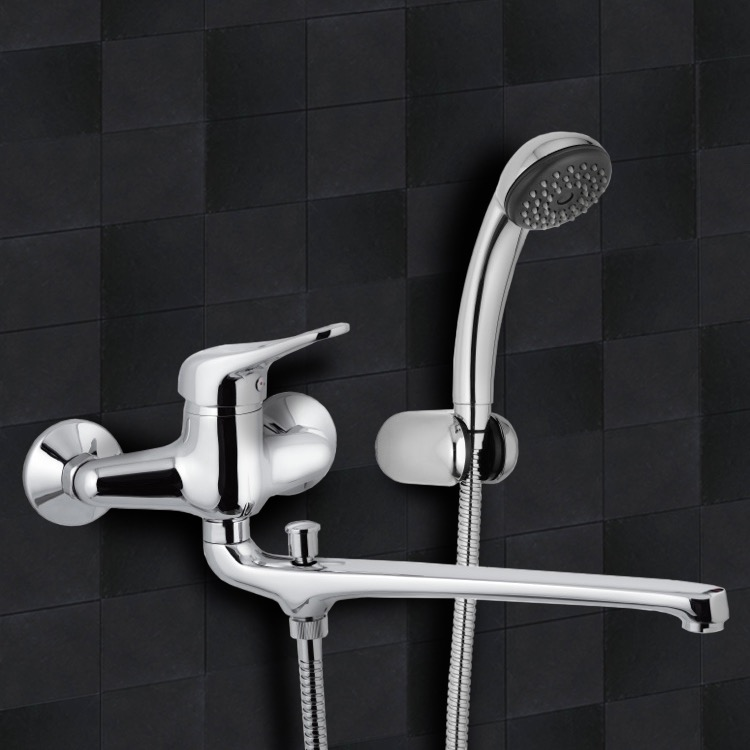 Tub Filler, Remer K49, Chrome Wall Mount Tub Faucet with Long Swivel Spout and Hand Shower