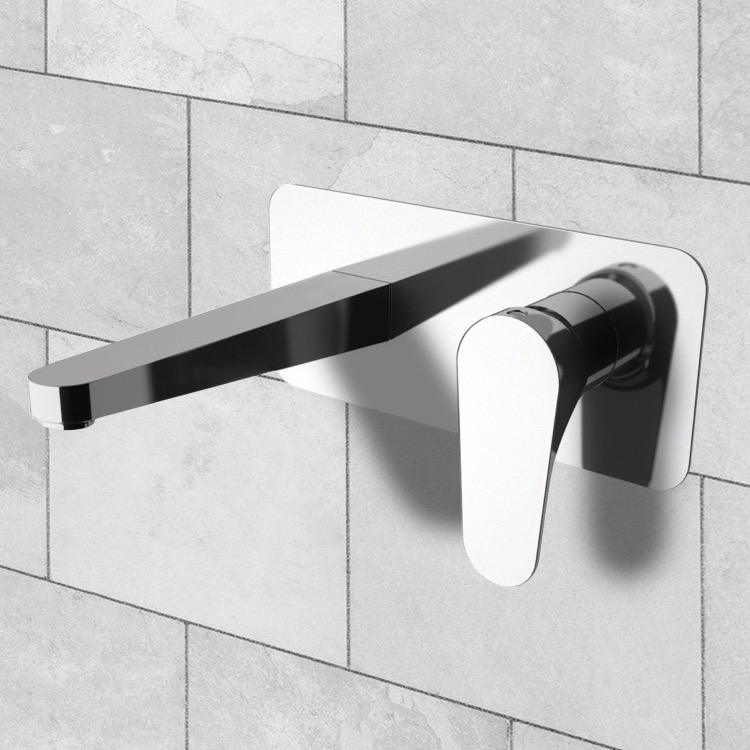 Bathroom Faucet, Remer L15US, Rectangular Wall Mounted Basin Mixer With Lever