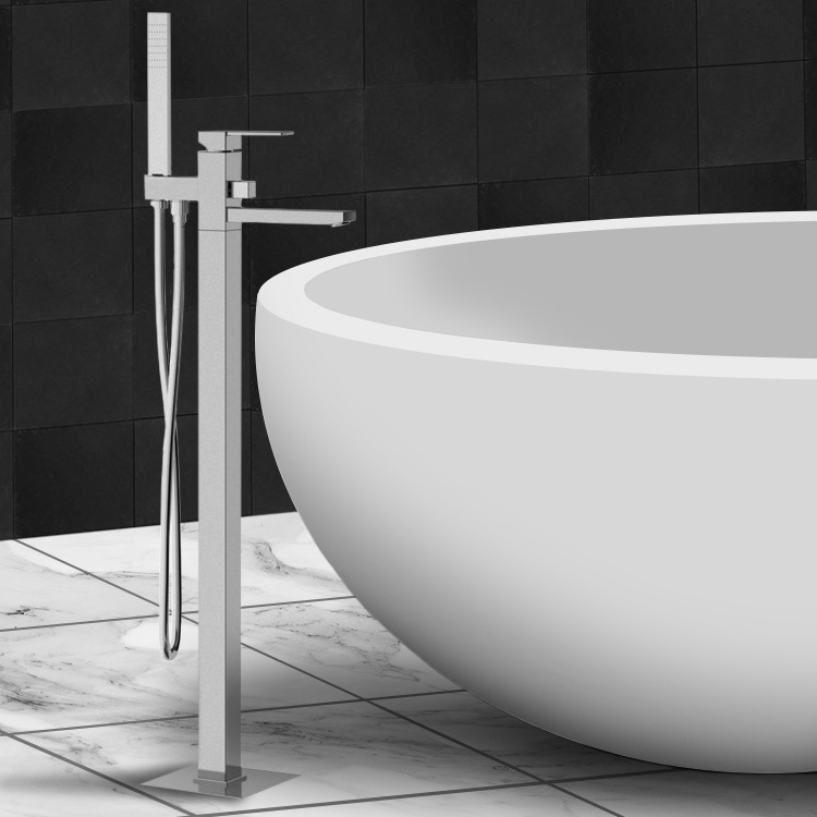Tub Filler, Remer Q08US, Floor Mounted Tub Mixer with Diverter and Shower Kit