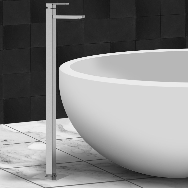 Tub Filler, Remer Q18US, Chrome and Brass Floor Mounted Single Lever Tub Filler