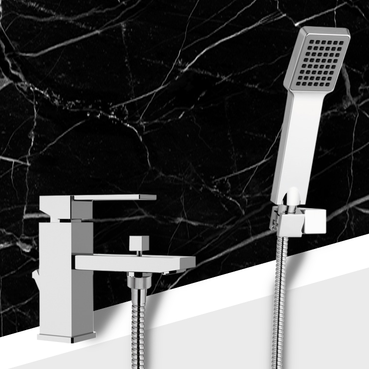 Tub Filler, Remer Q03US, Bath and Sink Mixer With Hand Shower and Shower Bracket