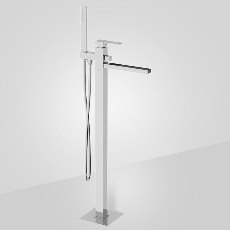 Tub Filler, Remer QC08US, Floor Mounted Bath Mixer with Waterfall Spout