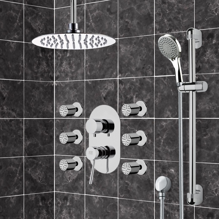 Shower Faucet, Remer R3, Chrome Shower System with Ceiling 10