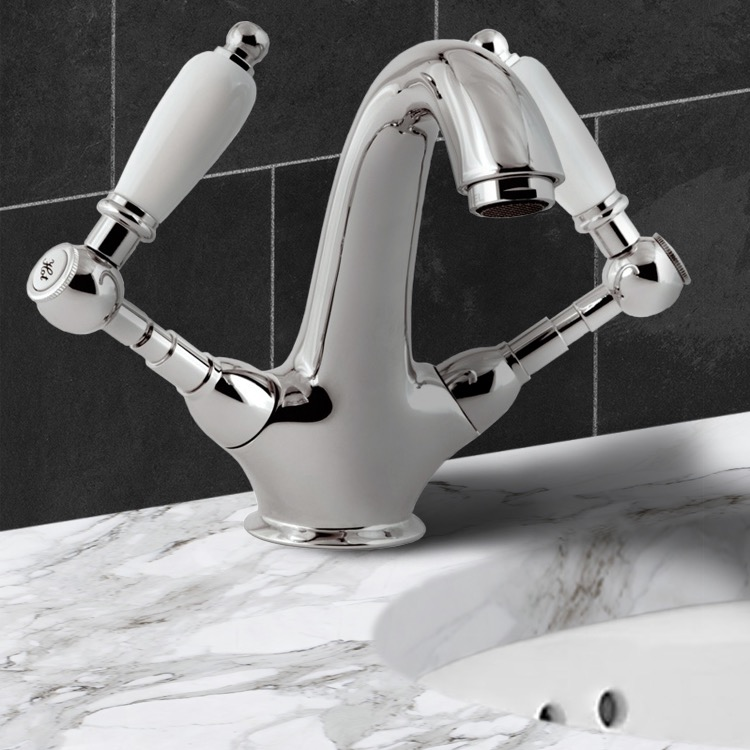 Bathroom Faucet, Remer LR13BUS, Two Handle Washbasin Mixer With Click-Clack Pop-Up Waste