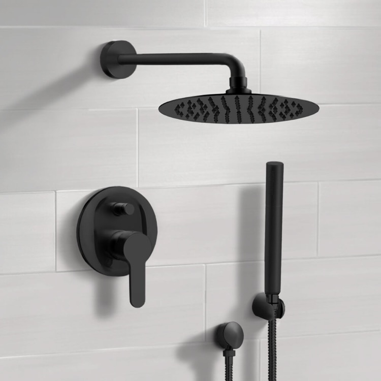 Shower Faucet, Remer SFH34, Matte Black Shower System With Rain Shower Head and Hand Shower