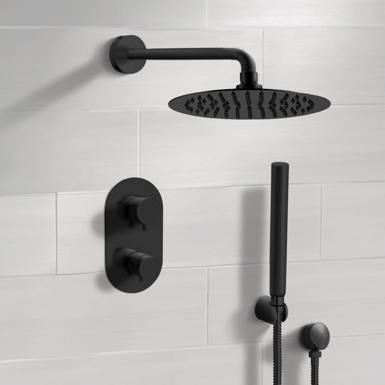 Shower Faucet, Remer SFH35, Matte Black Thermostatic Shower System with Rain Shower Head and Hand Shower