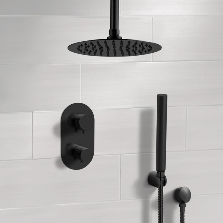 Shower Faucet, Remer SFH38-10, Matte Black Thermostatic Ceiling Shower System with 10