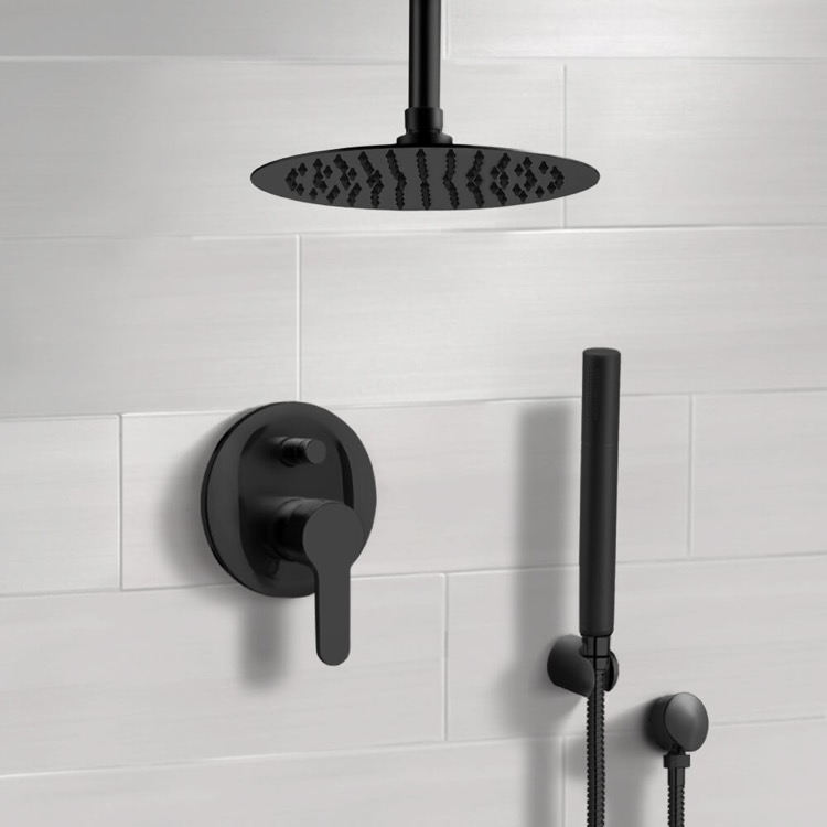 Shower Faucet, Remer SFH39-12, Matte Black Ceiling Shower System With 12