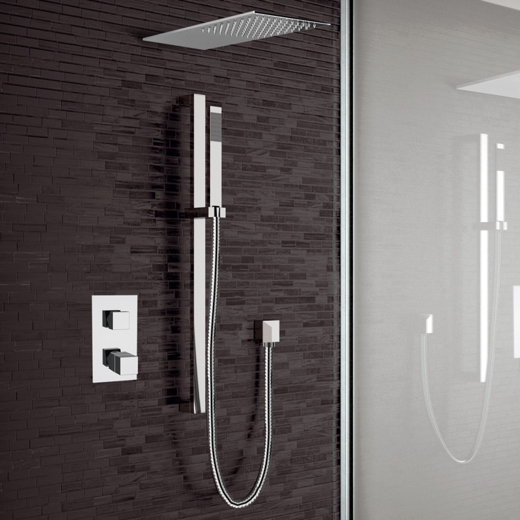 Shower Faucet, Remer SFR30, Chrome Thermostatic Shower System with Sleek Rain Shower Head and Hand Shower