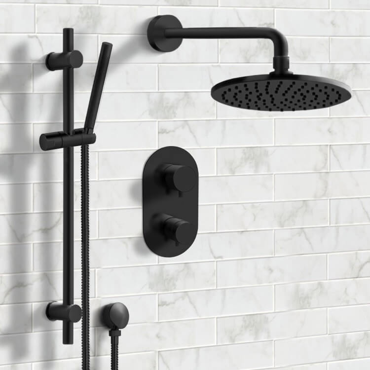 Shower Faucet, Remer SFR41, Matte Black Thermostatic Shower System with 8