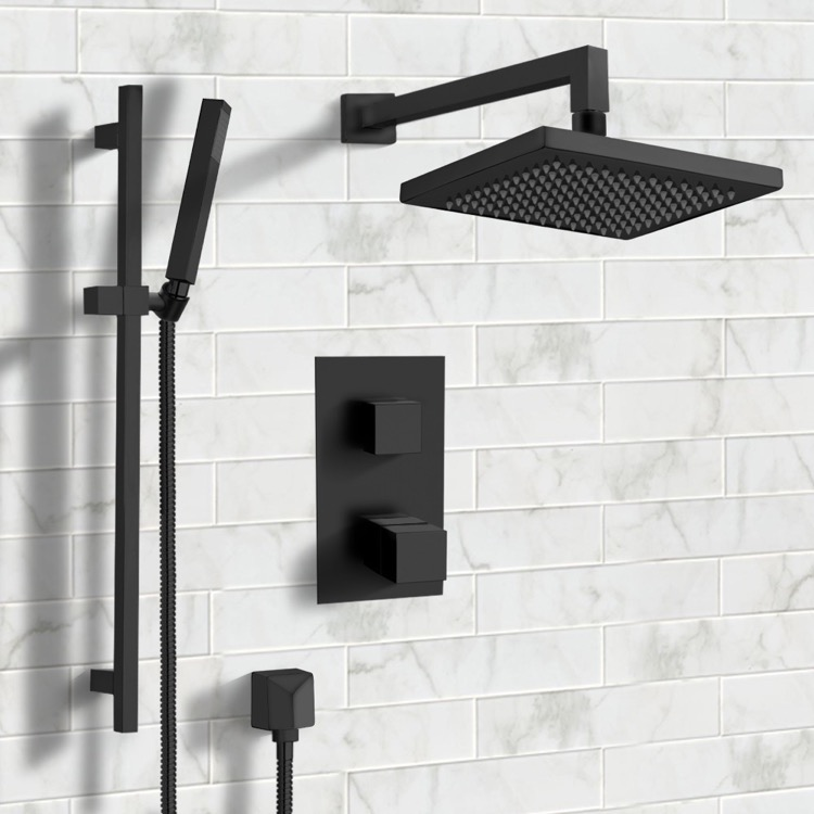 Shower Faucet, Remer SFR43, Matte Black Thermostatic Shower System with 8
