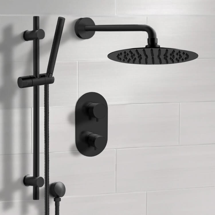 Shower Faucet, Remer SFR45-10, Matte Black Thermostatic Shower System with 10