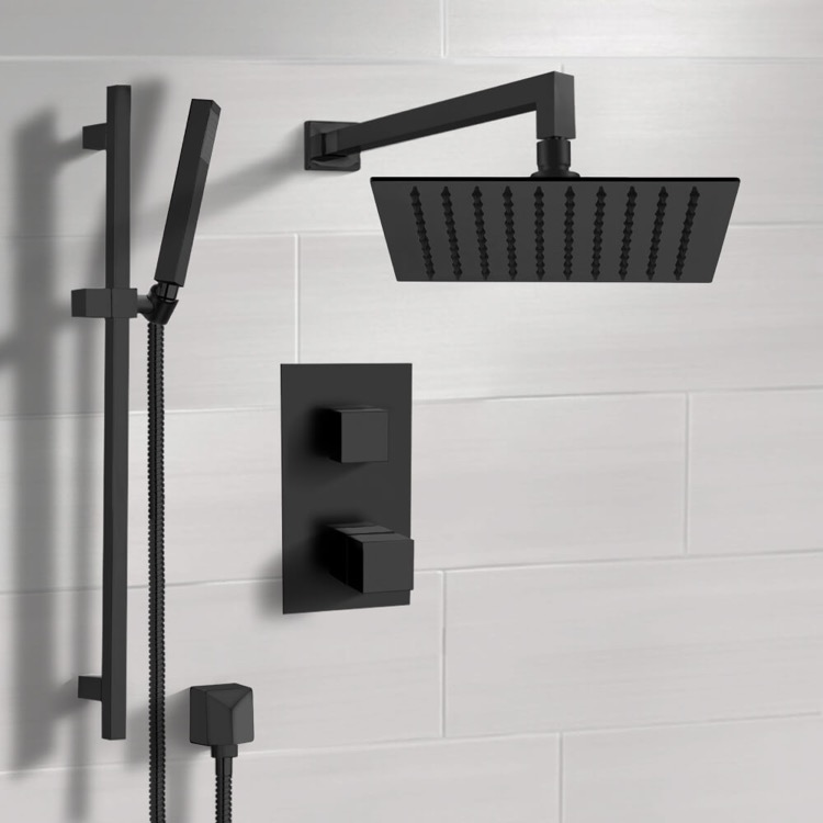 Shower Faucet, Remer SFR47-10, Matte Black Thermostatic Shower Set with 10