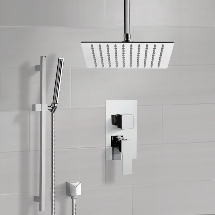 Shower Faucet, Remer SFR51, Chrome Ceiling Shower System With Rain Shower Head and Hand Shower