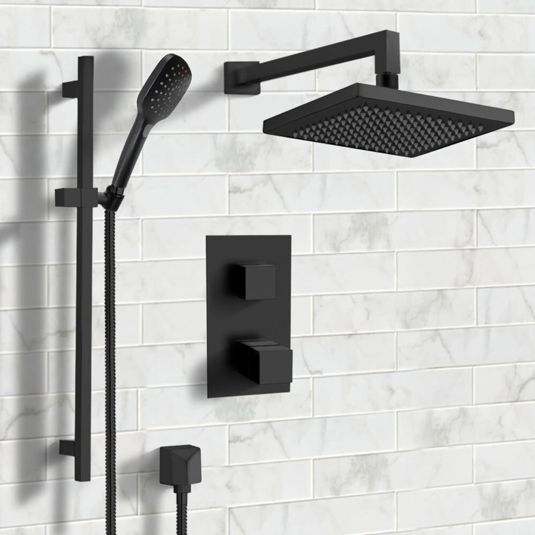Shower Faucet, Remer SFR55, Matte Black Thermostatic Shower System with 8