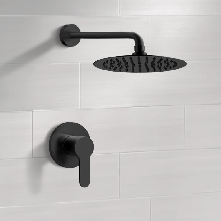 Shower Faucet, Remer SS42-12, Matte Black Shower Faucet Set with 12