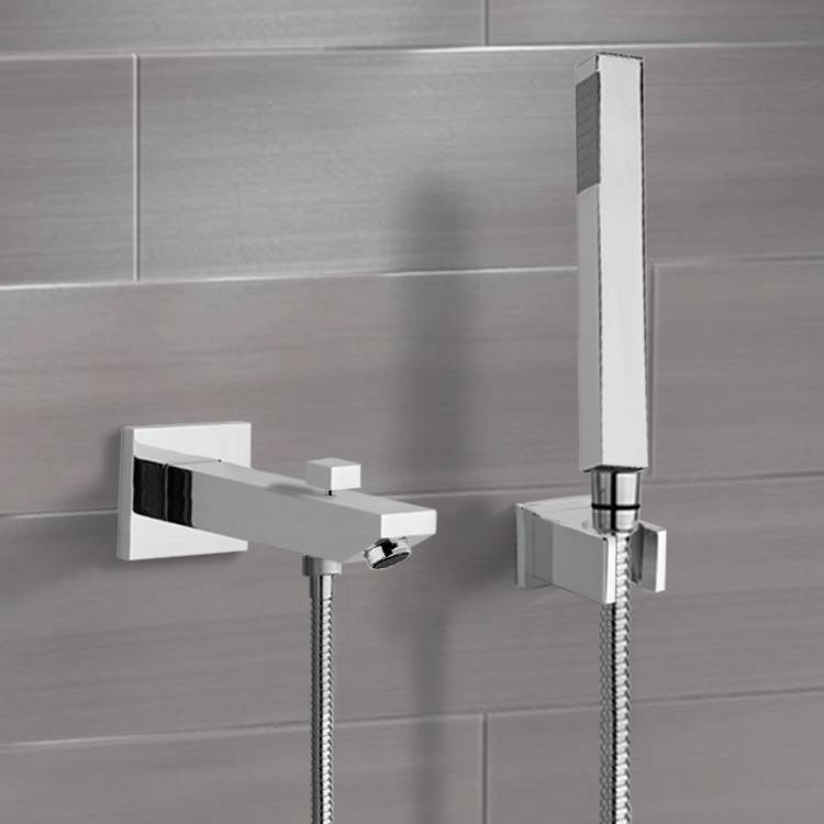 Tub Spout, Remer TDH01, Chrome Wall Mounted Tub Spout Kit with Hand Shower