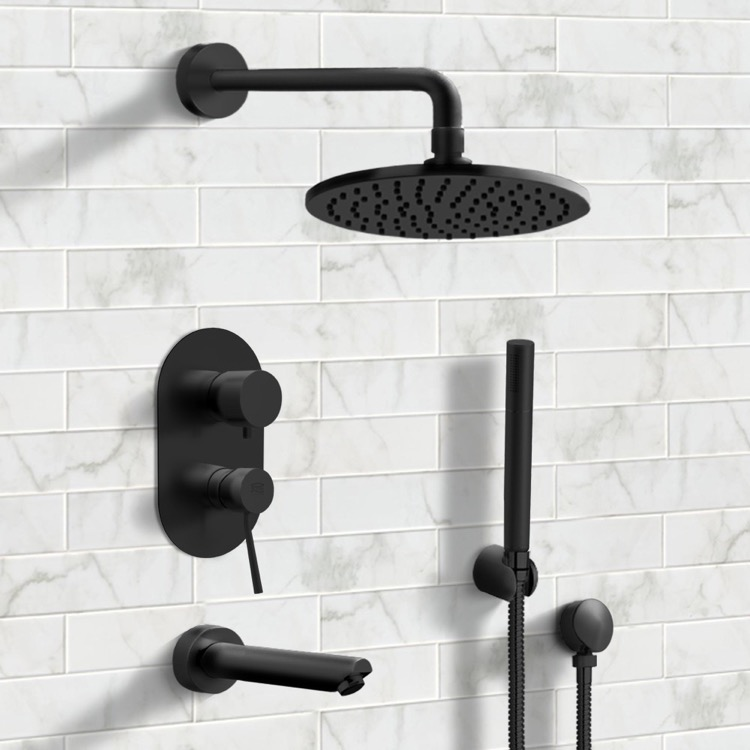 Tub and Shower Faucet, Remer TSH30, Matte Black Tub and Shower System with 8
