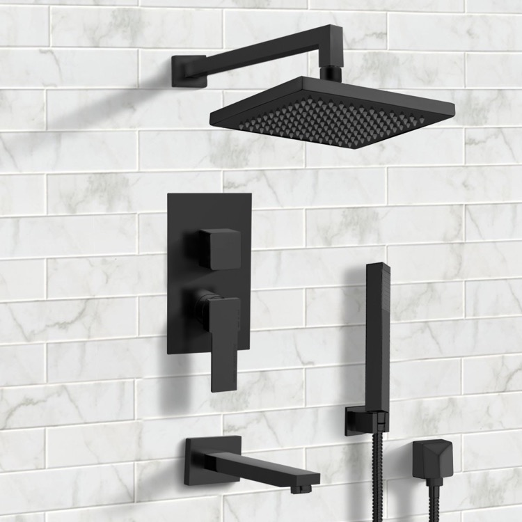 Tub and Shower Faucet, Remer TSH33, Matte Black Tub and Shower System with 8