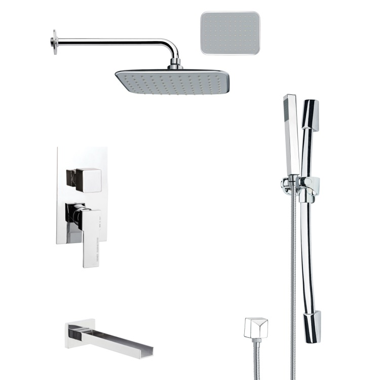 Tub and Shower Faucet, Remer TSR9134, Chrome Tub and Shower System with 10
