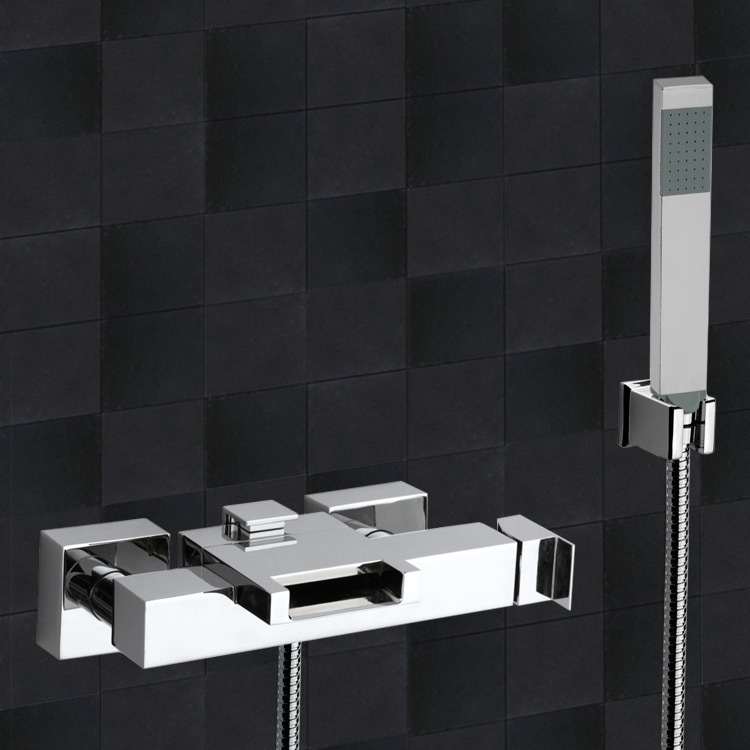 Tub Filler, Remer ZC02US, External Diverter with Waterfall Spout and Handshower with Bracket