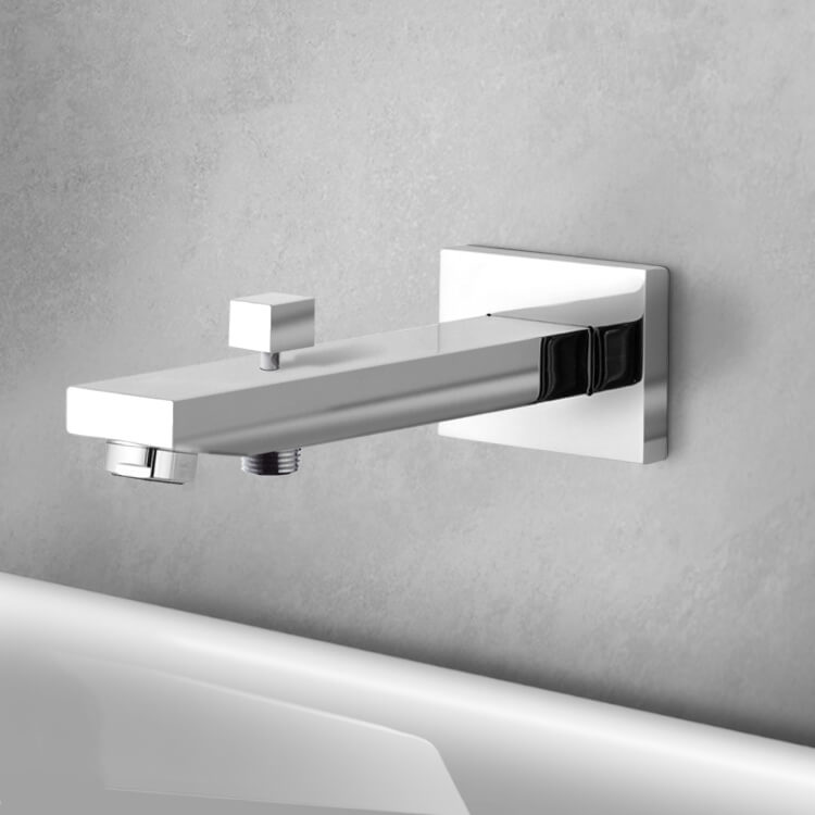 Tub Spout, Remer 91QD-CR, Wall-Mounted Tub Spout With Diverter