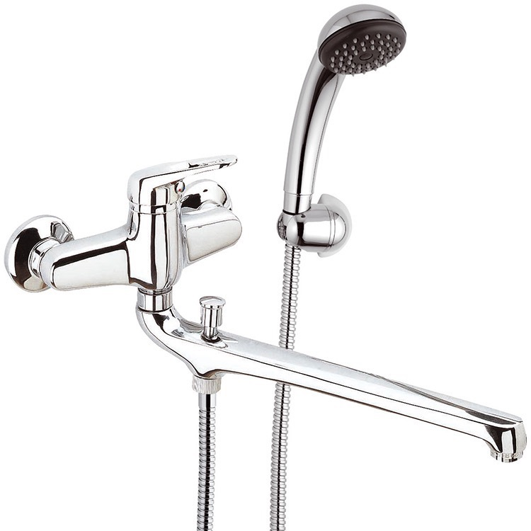 Tub Filler, Remer R49, Chrome Wall Mount Tub Faucet with Long Swivel Spout and Hand Shower