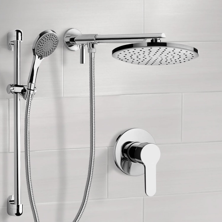 Shower Faucet, Remer SFR16, Chrome Shower Set With Rain Shower Head and Hand Shower