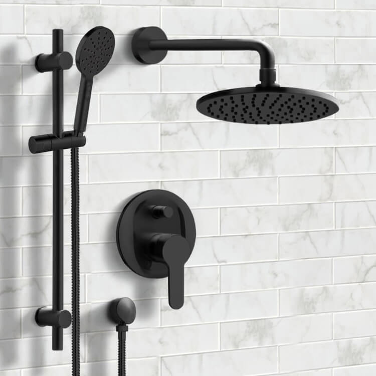Shower Faucet, Remer SFR52, Matte Black Shower Set with 8