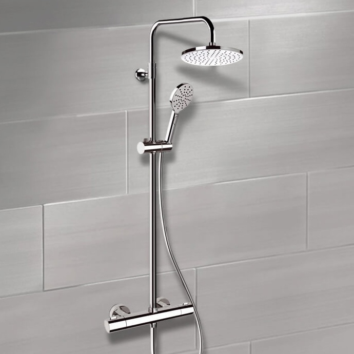 Exposed Pipe Shower, Remer SC508, Chrome Thermostatic Exposed Pipe Shower System with 8