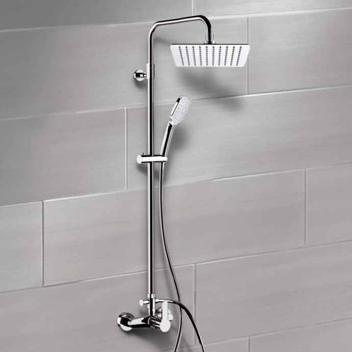 Exposed Pipe Shower, Remer SC539, Chrome Exposed Pipe Shower System with 10