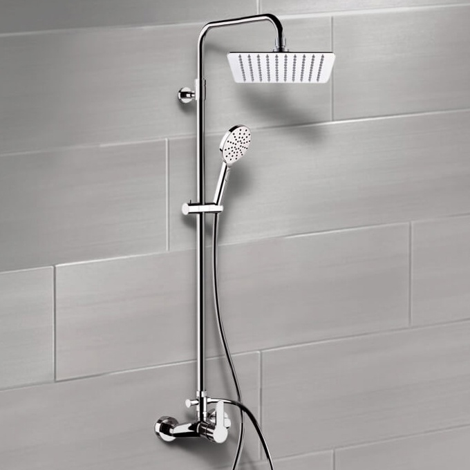 Exposed Pipe Shower, Remer SC544, Chrome Exposed Pipe Shower System with 10