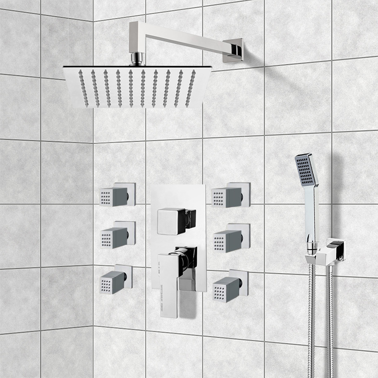 Shower Faucet, Remer S19, Chrome Shower System with 10