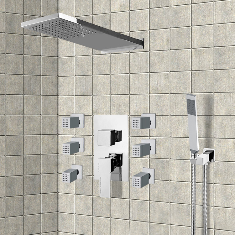 Shower Faucet, Remer S23, Chrome Shower System with Rain Shower Head, Hand Shower, and Body Sprays