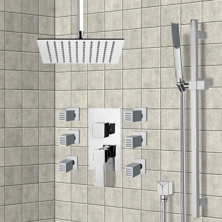 Shower Faucet, Remer S2, Chrome Shower System with Ceiling 10