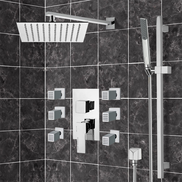 Shower Faucet, Remer S3, Chrome Shower System with 10