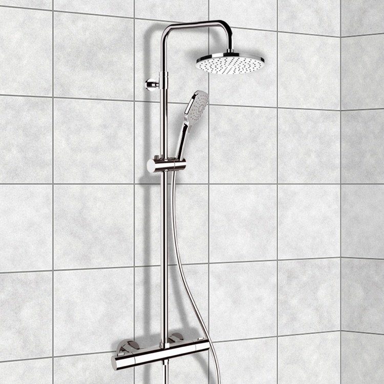 exposed pipe shower . Exposed Pipe Shower  Remer SC501 Chrome Thermostatic System With 8 Elegance Nameek S
